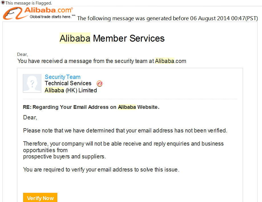 Scams targeting furniture industry professionals Alibaba