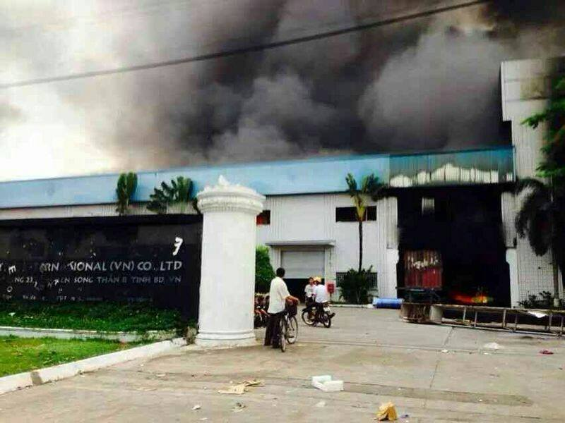 factory burning in vietnam