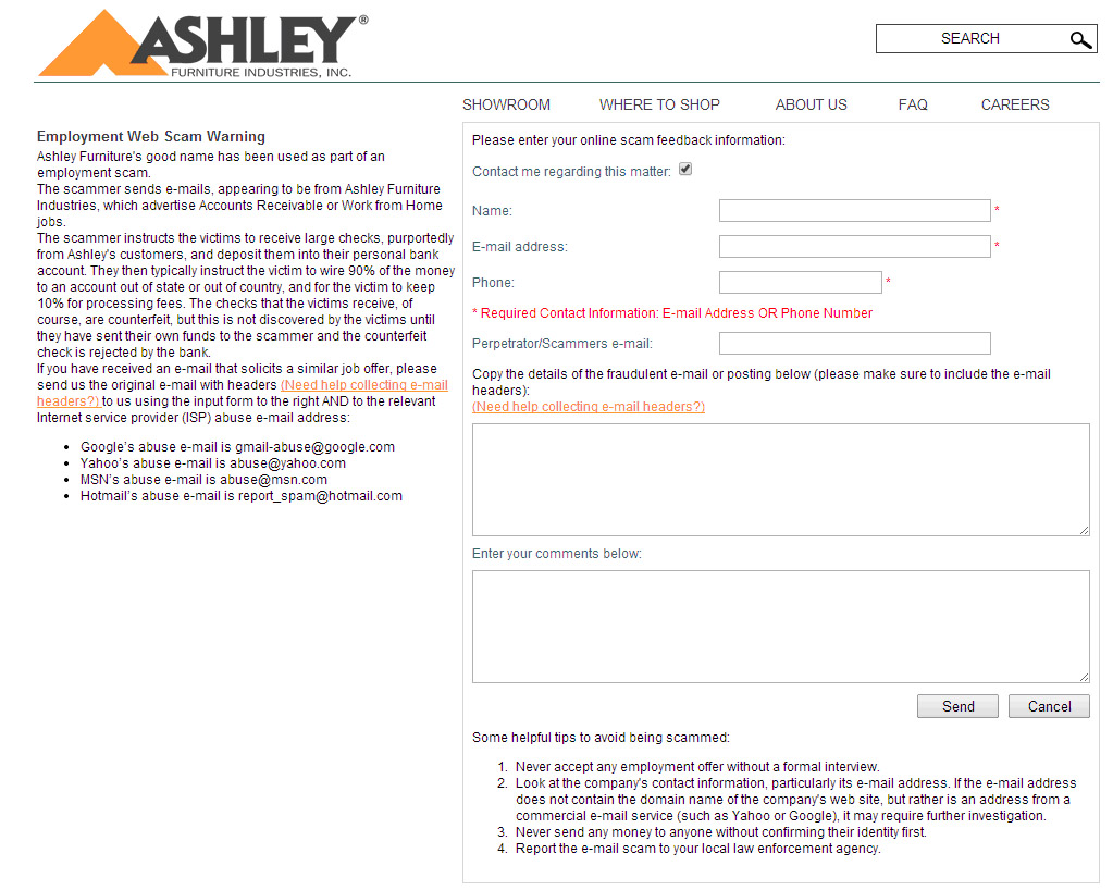 Scams targeting furniture industry professionals 13 Ashley Furniture