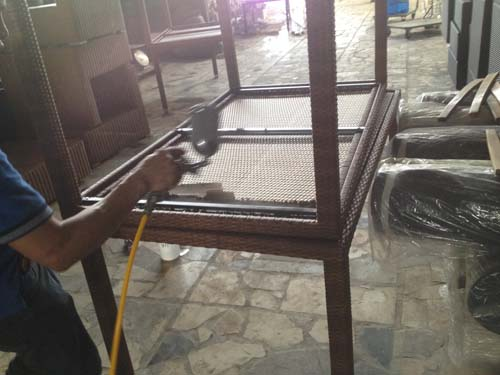 Furniture Quality Control in Vietnam - Epoxy painting chipped off metal frame 2